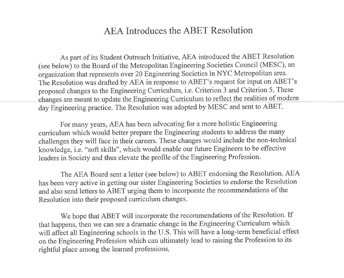 AEA Introduces the ABET Resolution